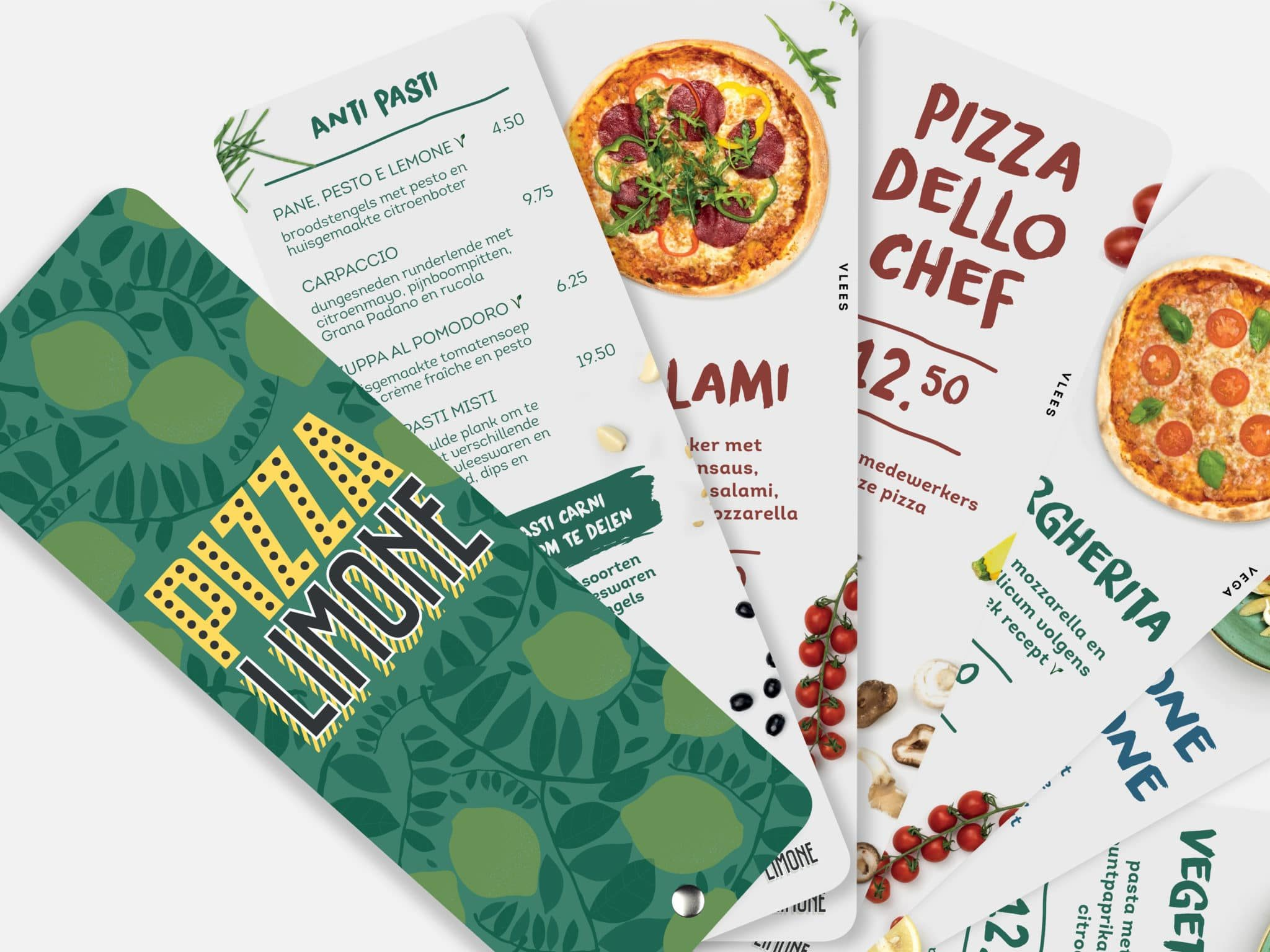 Pizza limone identity graphic design menu menukaart grafisch ontwerp